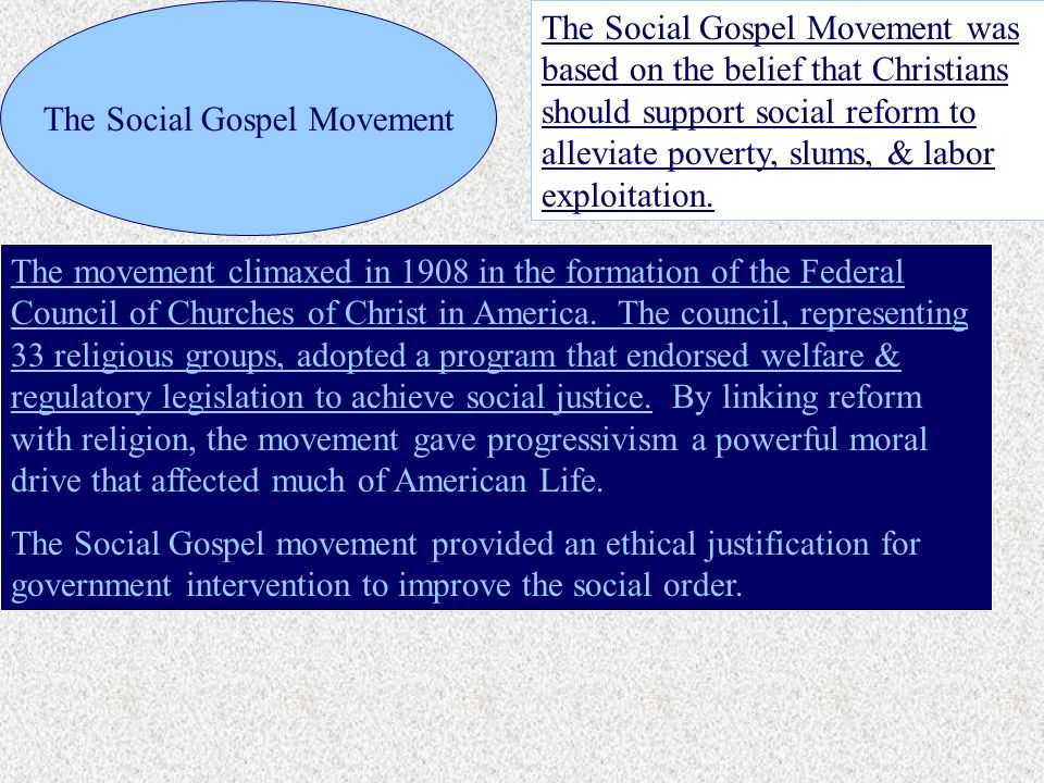 The Social Gospel Movement The Social Gospel Movement was based on the belief that Christians should support social reform to alleviate poverty, slums, & labor exploitation.