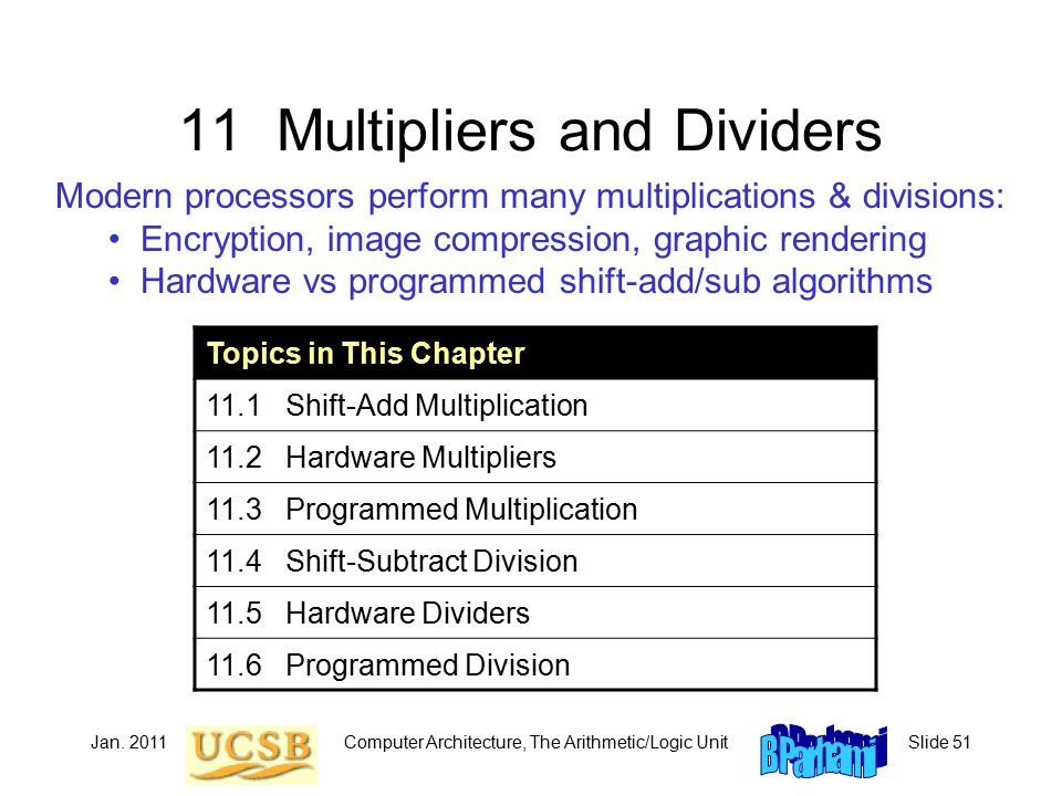 Jan. 2011Computer Architecture, The Arithmetic/Logic UnitSlide 51 11 Multipliers and Dividers Modern processors perform many multiplications & divisio