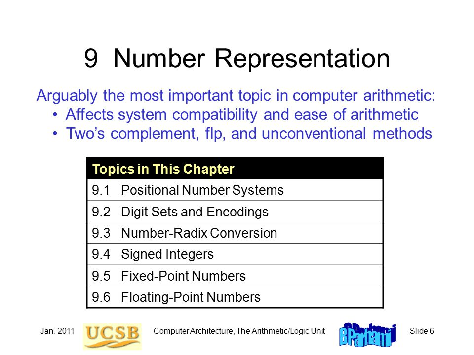 Jan. 2011Computer Architecture, The Arithmetic/Logic UnitSlide 6 9 Number Representation Arguably the most important topic in computer arithmetic: Aff