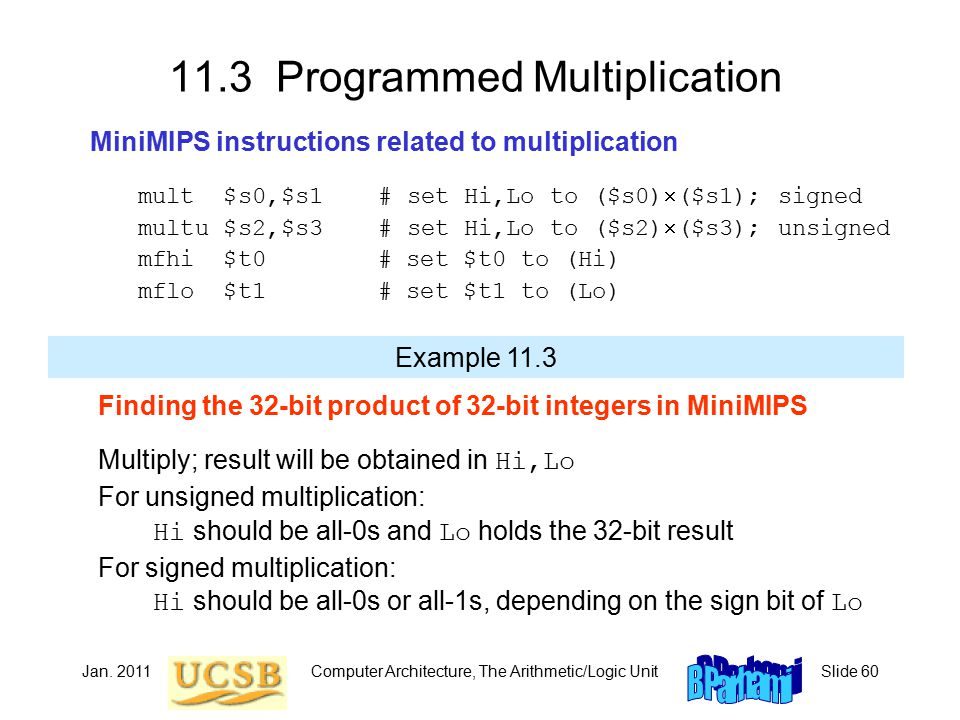 Jan. 2011Computer Architecture, The Arithmetic/Logic UnitSlide 60 11.3 Programmed Multiplication MiniMIPS instructions related to multiplication mult