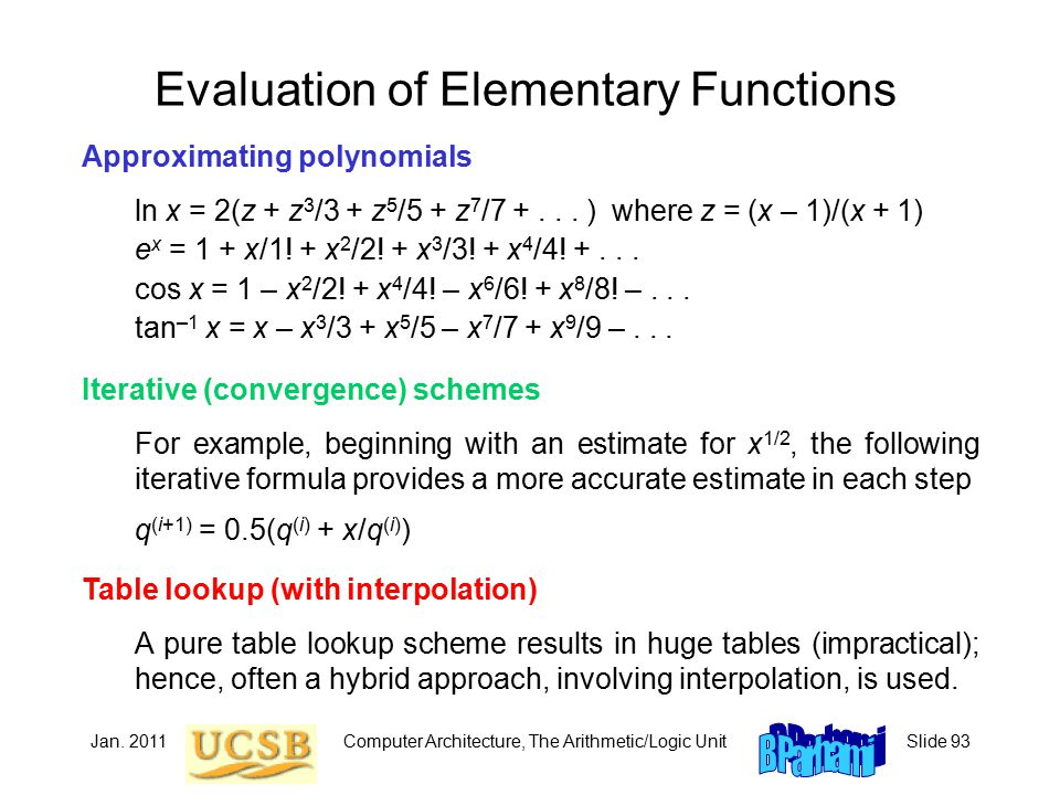 Jan. 2011Computer Architecture, The Arithmetic/Logic UnitSlide 93 Evaluation of Elementary Functions Approximating polynomials ln x = 2(z + z 3 /3 + z