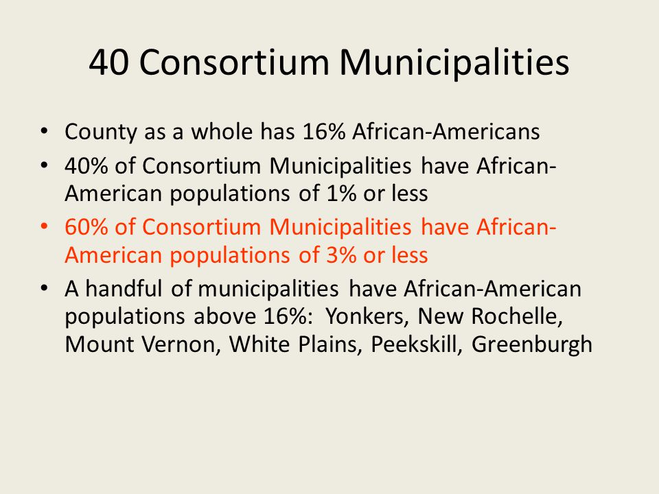 40 Consortium Municipalities County as a whole has 16% African-Americans 40% of Consortium Municipalities have African- American populations of 1% or