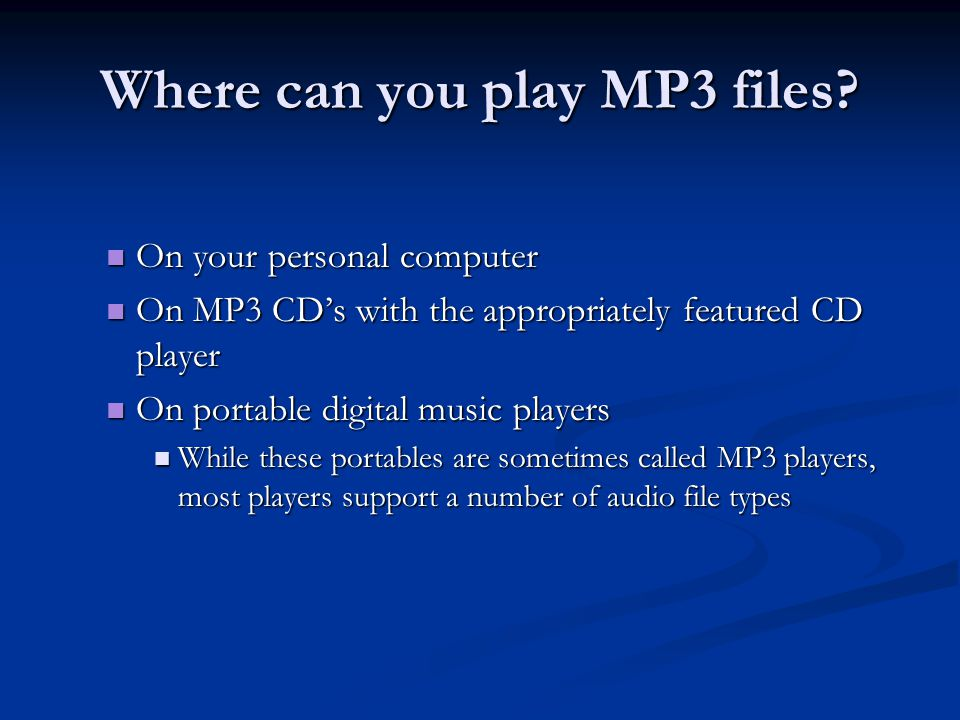 3 Popular File Formats MP3 -The most popular codec for storing and transferring music WMA - Developed my Microsoft - Windows Media Audio is one of today's most popular audio formats.