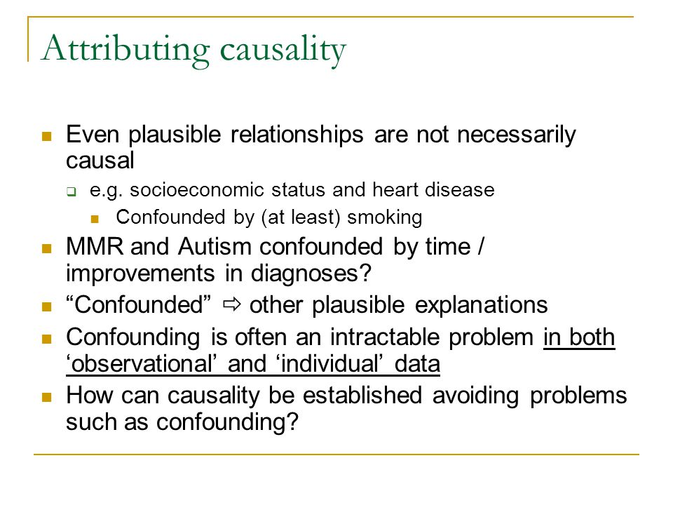 Attributing causality Even plausible relationships are not necessarily causal  e.g.