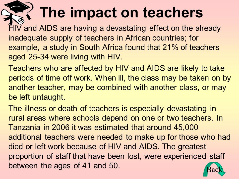 The impact on Education The relationship between AIDS and the education sector is circular – as the epidemic worsens, the education sector is damaged,