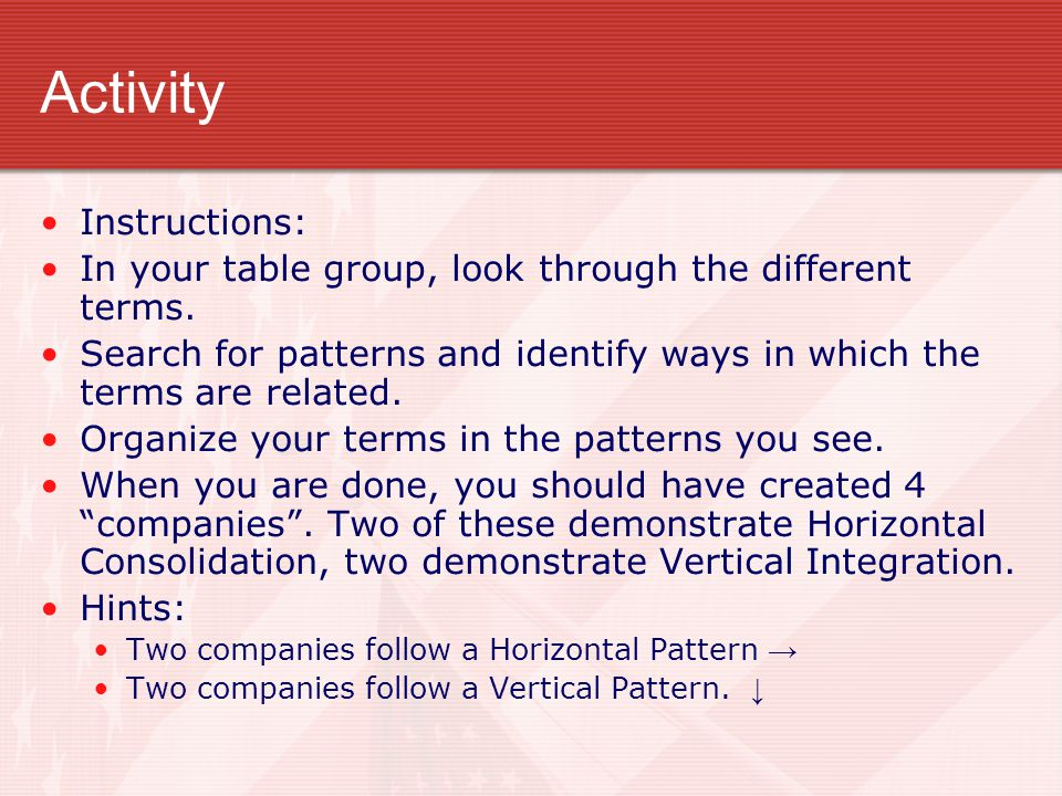 Activity Instructions: In your table group, look through the different terms. Search for patterns and identify ways in which the terms are related. Or