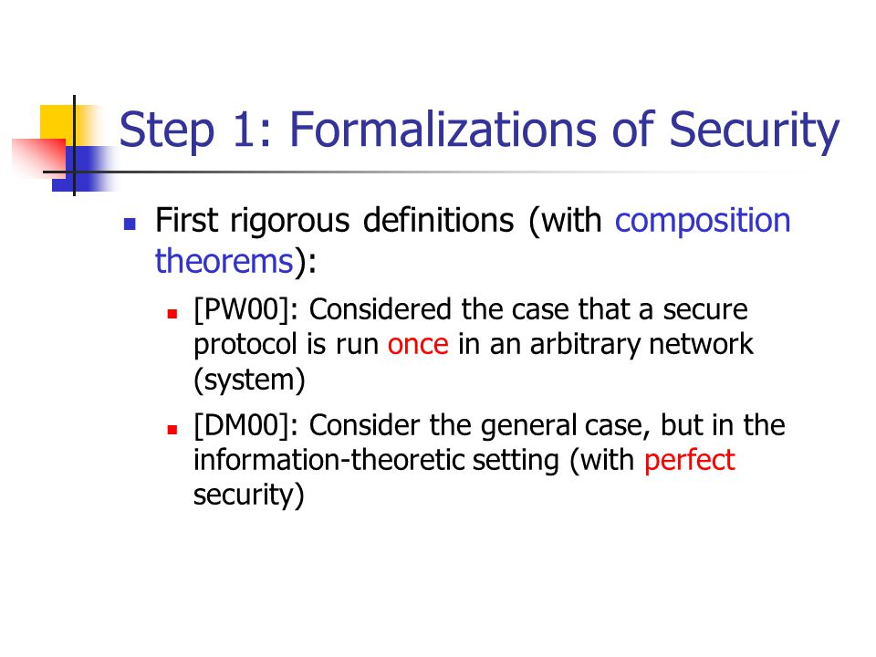 Security in the General Case Universal composability (UC-security) [Ca01]: Considers the case that secure protocols are run any polynomial number of times in an arbitrary network As with previous work, the definition relates to a stand-alone setting , and is accompanied by a composition theorem Theorem: any protocol that is UC-secure remains secure under concurrent general composition