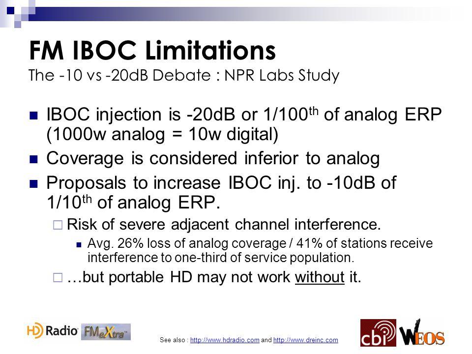 See also : http://www.hdradio.com and http://www.dreinc.com FM IBOC Limitations The -10 vs -20dB Debate : NPR Labs Study IBOC injection is -20dB or 1/