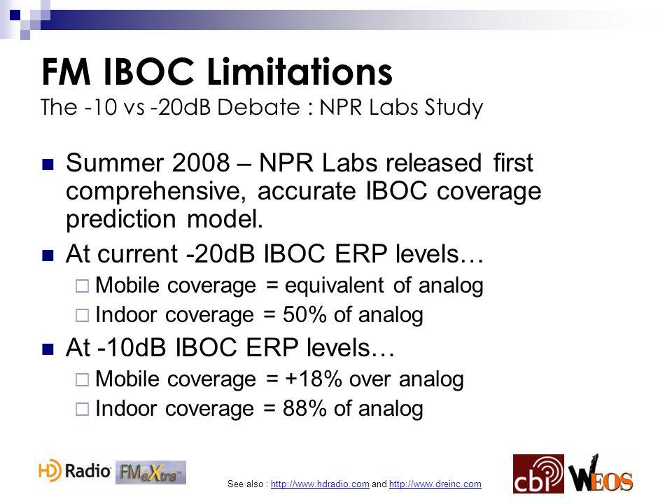 See also : http://www.hdradio.com and http://www.dreinc.com FM IBOC Limitations The -10 vs -20dB Debate : NPR Labs Study Summer 2008 – NPR Labs releas