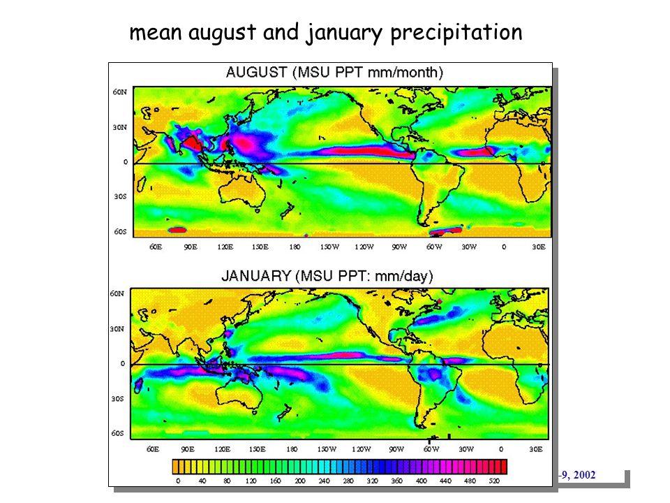 IOGOOS: November 4-9, 2002 mean august and january precipitation