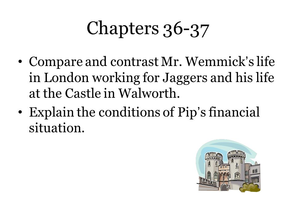 Chapters 36-37 Compare and contrast Mr. Wemmick's life in London working for Jaggers and his life at the Castle in Walworth. Explain the conditions of