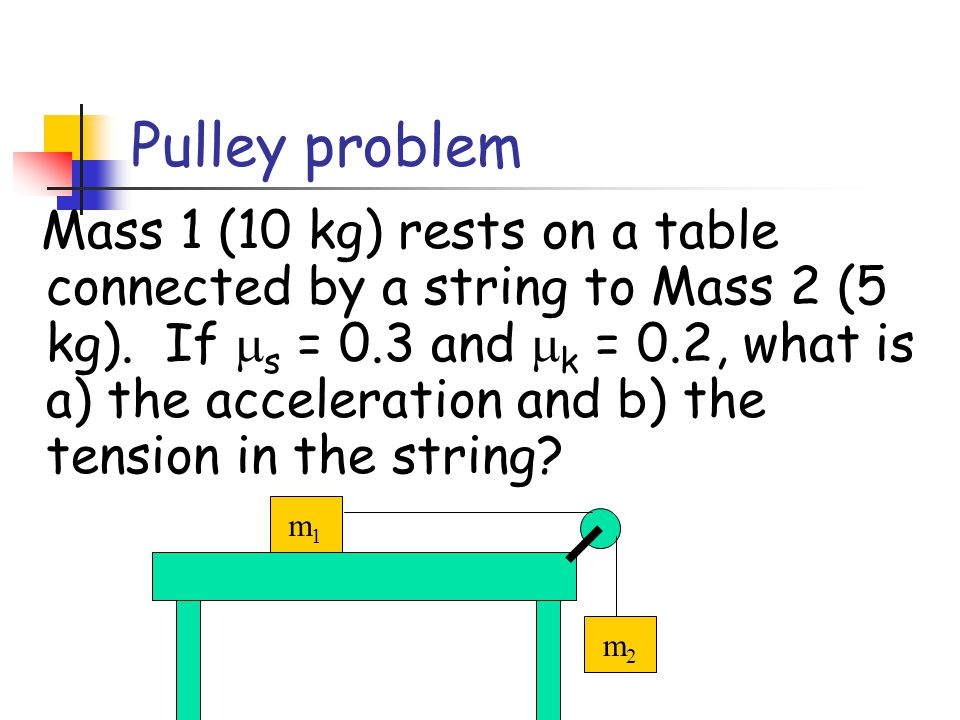 Mass 1 (10 kg) rests on a table connected by a string to Mass 2 (5 kg) as shown.