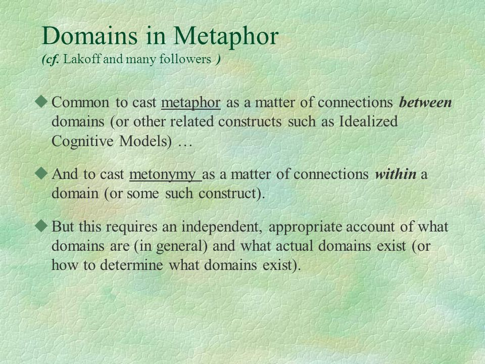 Domains in Metaphor (cf. Lakoff and many followers ) uCommon to cast metaphor as a matter of connections between domains (or other related constructs