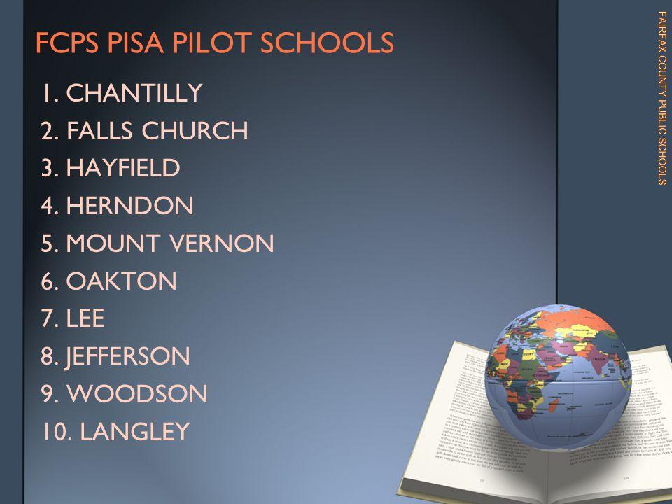 FCPS PISA PILOT SCHOOLS 1.CHANTILLY 2.