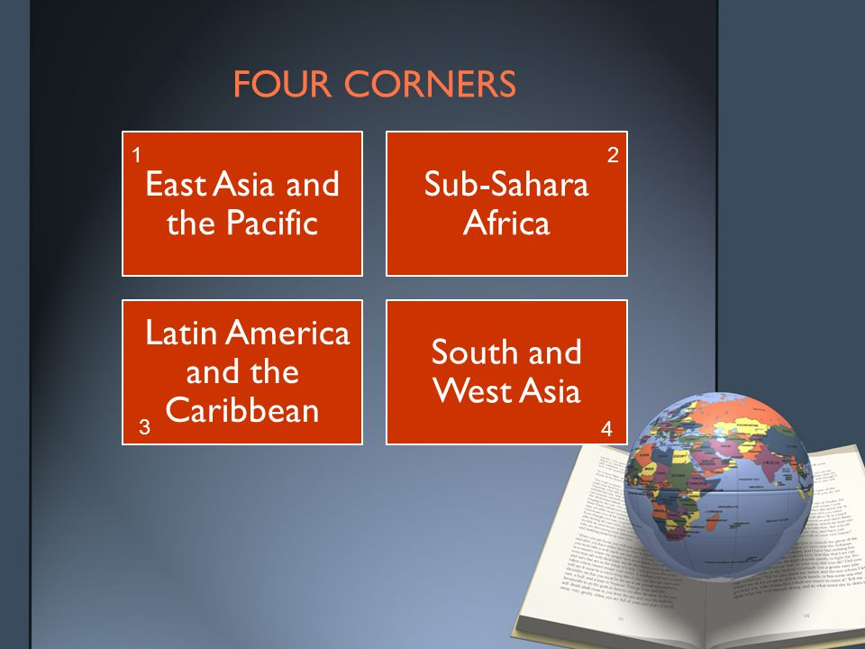 FOUR CORNERS East Asia and the Pacific 13% Sub-Sahara Africa 22% Latin America and the Caribbean 4.7% South and West Asia 52%