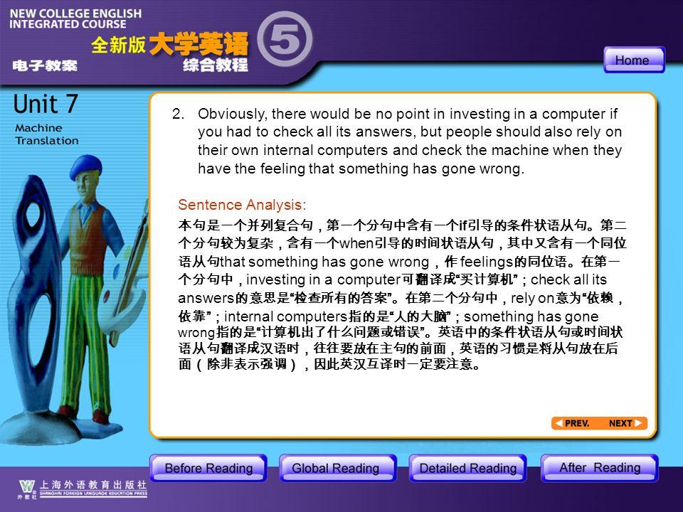 AR_4_3 本句是一个并列复合句,第一个分句中含有一个 if 引导的条件状语从句。第二 个分句较为复杂,含有一个 when 引导的时间状语从句,其中又含有一个同位 语从句 that something has gone wrong ,作 feelings 的同位语。在第一 个分句中, investing in a computer 可翻译成 买计算机 ; check all its answers 的意思是 检查所有的答案 。在第二个分句中, rely on 意为 依赖, 依靠 ; internal computers 指的是 人的大脑 ; something has gone wrong 指的是 计算机出了什么问题或错误 。英语中的条件状语从句或时间状 语从句翻译成汉语时,往往要放在主句的前面,英语的习惯是将从句放在后 面(除非表示强调),因此英汉互译时一定要注意。 Sentence Analysis: 2.