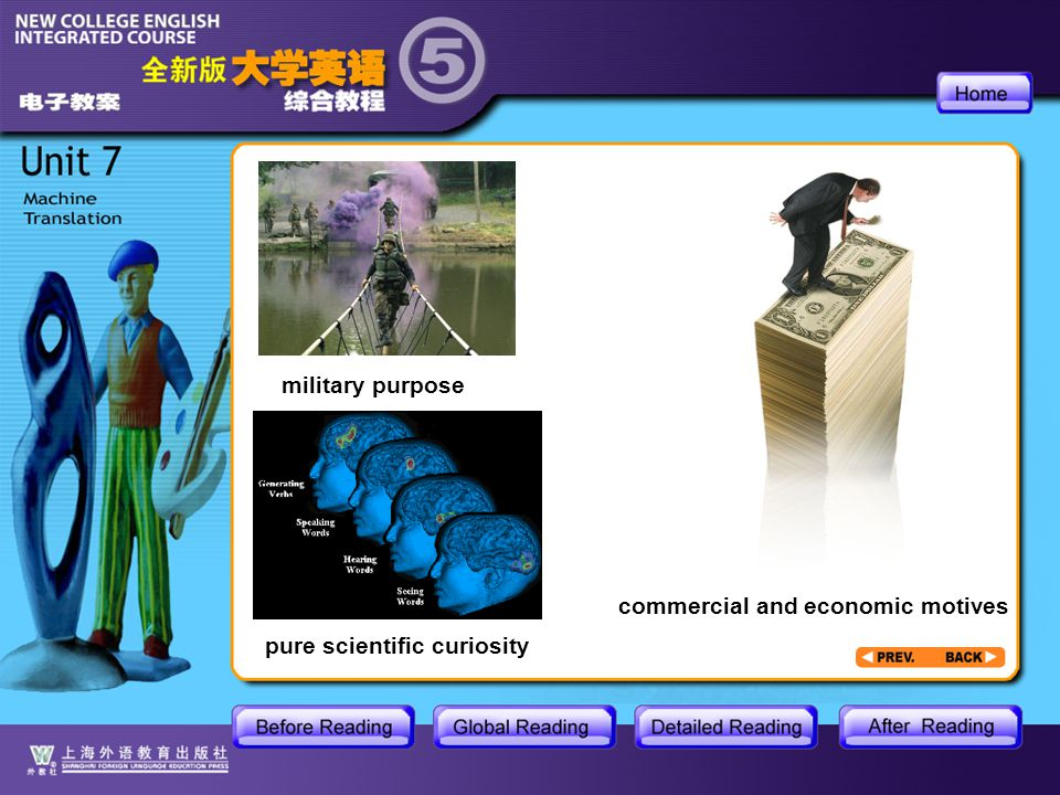 BR1- About Machine Translation3 military purpose pure scientific curiosity commercial and economic motives