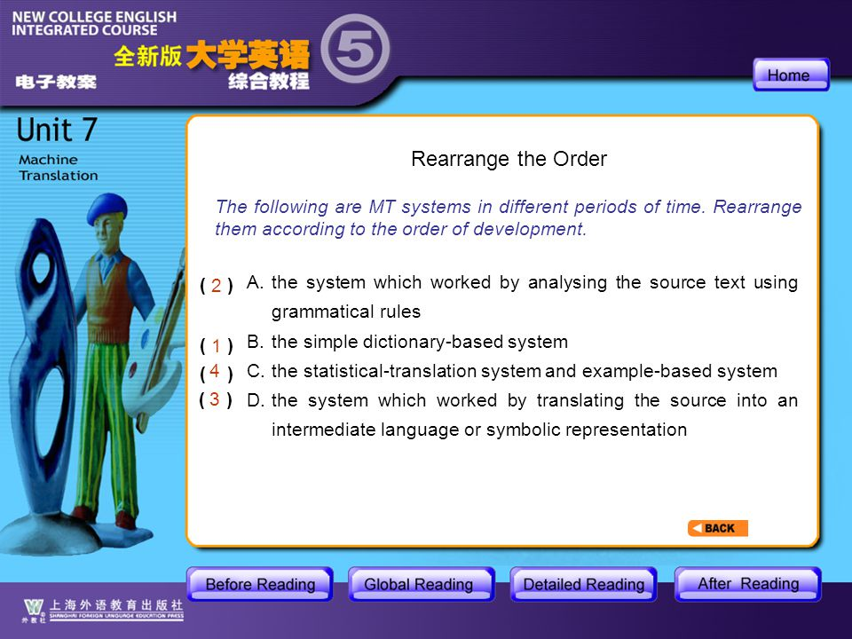 GR- Rearrange the Order of the Sentences The following are MT systems in different periods of time.