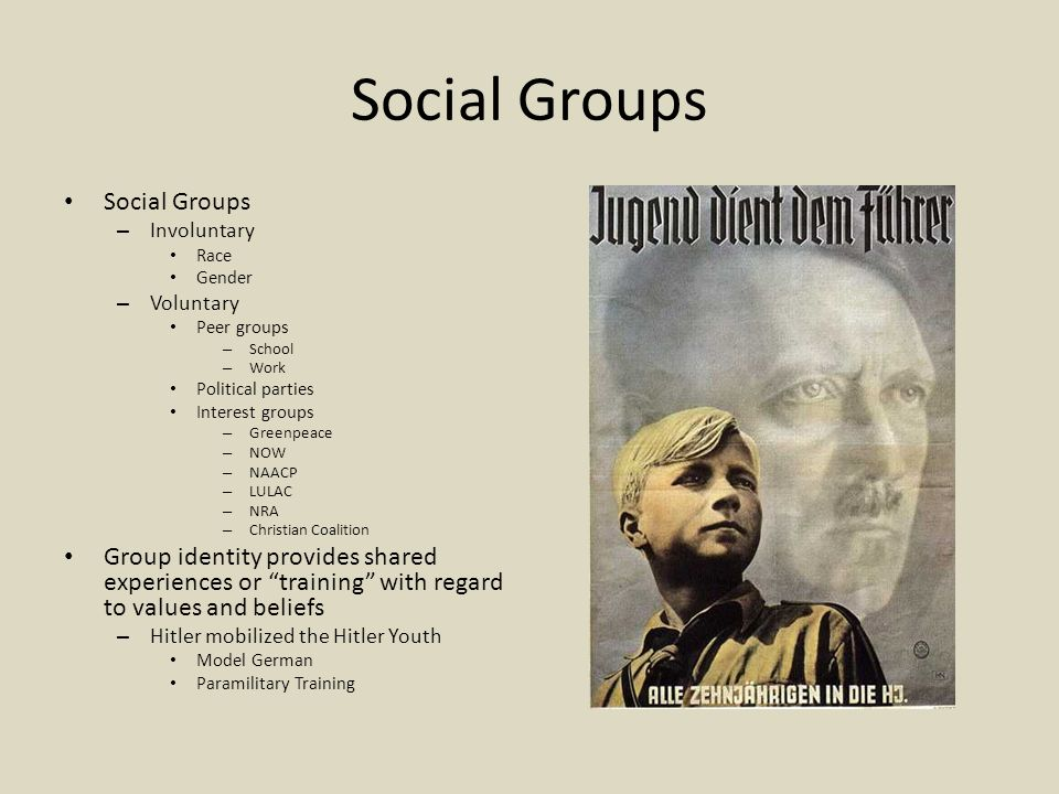 Social Groups – Involuntary Race Gender – Voluntary Peer groups – School – Work Political parties Interest groups – Greenpeace – NOW – NAACP – LULAC – NRA – Christian Coalition Group identity provides shared experiences or training with regard to values and beliefs – Hitler mobilized the Hitler Youth Model German Paramilitary Training