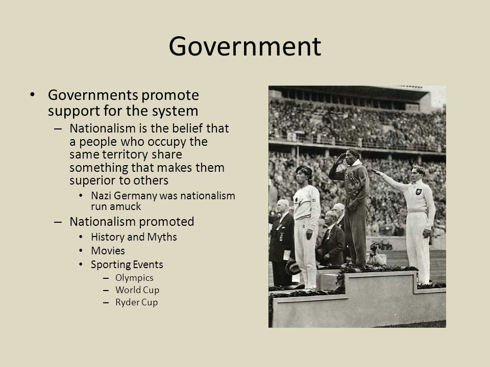 Government Governments promote support for the system – Nationalism is the belief that a people who occupy the same territory share something that makes them superior to others Nazi Germany was nationalism run amuck – Nationalism promoted History and Myths Movies Sporting Events – Olympics – World Cup – Ryder Cup