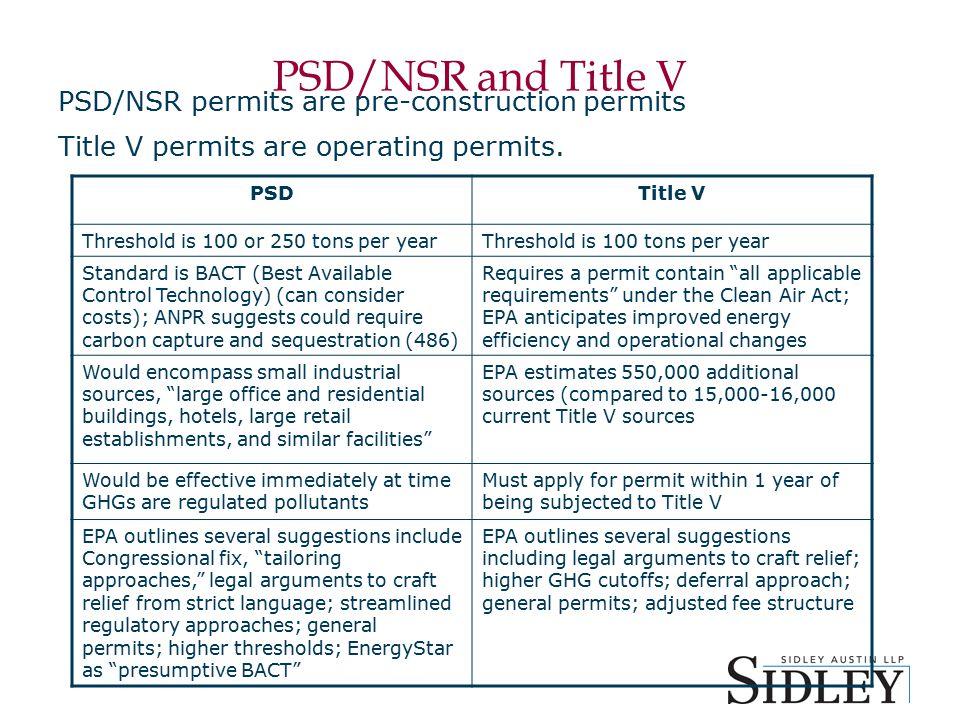 PSD/NSR and Title V PSD/NSR permits are pre-construction permits Title V permits are operating permits.