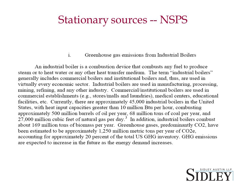 Stationary sources -- NSPS