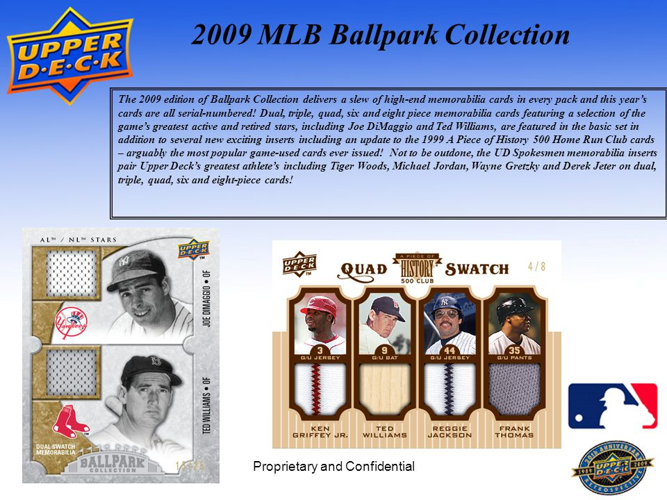 Proprietary and Confidential1 2009 MLB Ballpark Collection The 2009 edition of Ballpark Collection delivers a slew of high-end memorabilia cards in every pack and this year's cards are all serial-numbered.