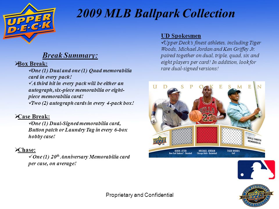 Proprietary and Confidential3 2009 MLB Ballpark Collection Break Summary:  Box Break: One (1) Dual and one (1) Quad memorabilia card in every pack.