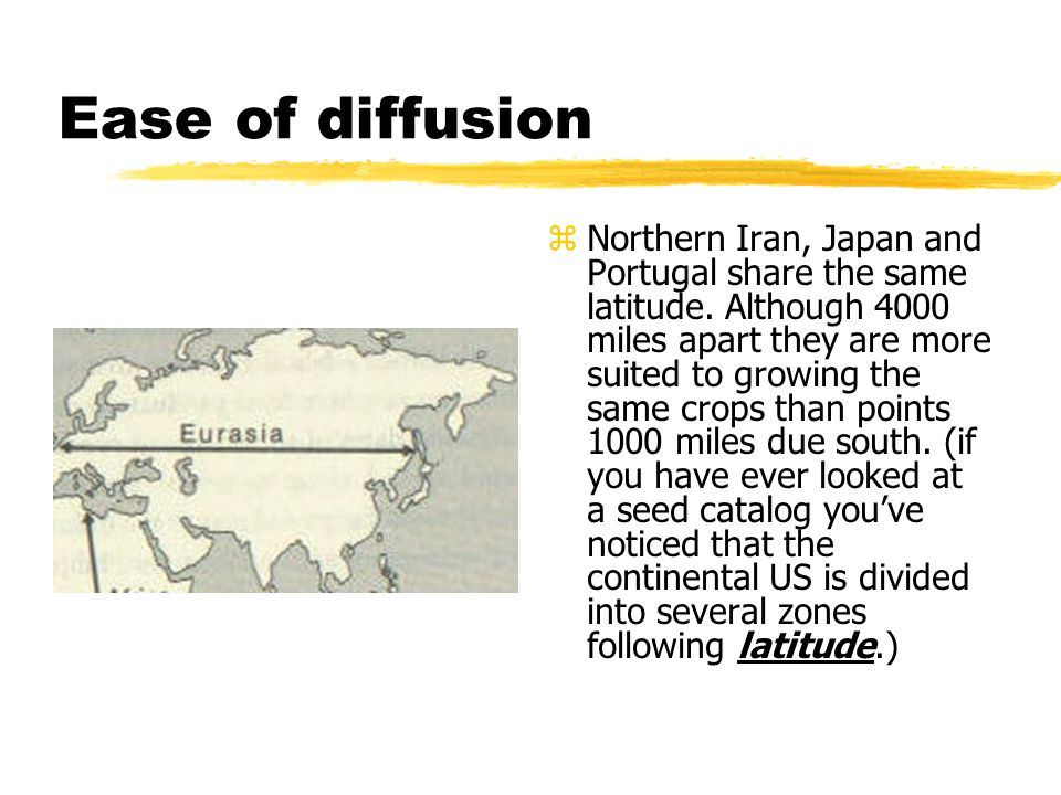 Ease of diffusion z Northern Iran, Japan and Portugal share the same latitude. Although 4000 miles apart they are more suited to growing the same crop