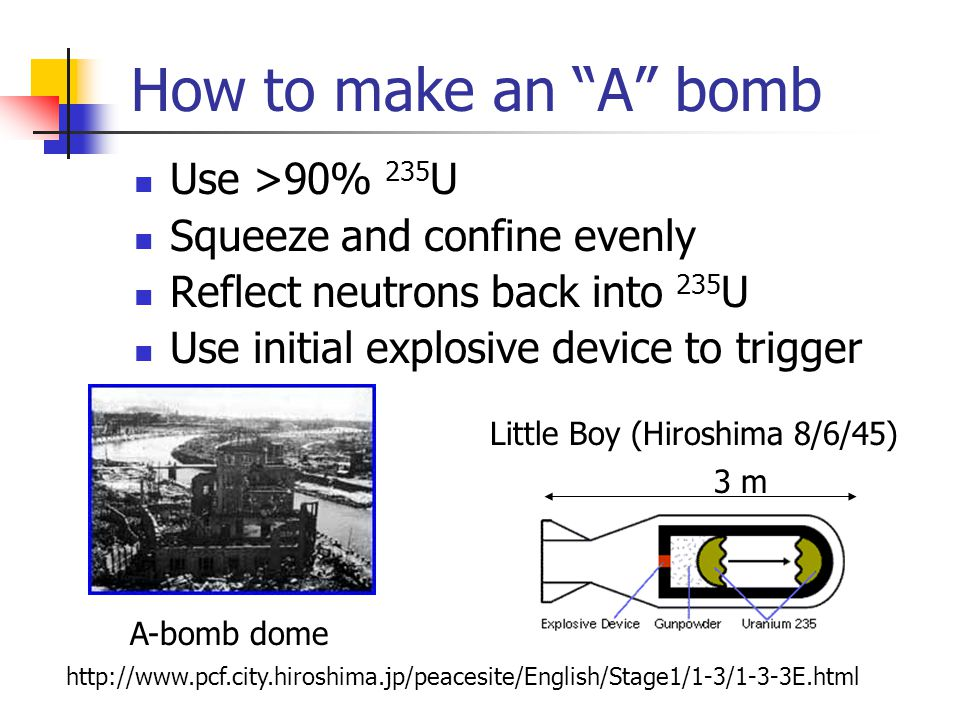 How to make an A bomb Use >90% 235 U Squeeze and confine evenly Reflect neutrons back into 235 U Use initial explosive device to trigger Little Boy (Hiroshima 8/6/45)   3 m A-bomb dome