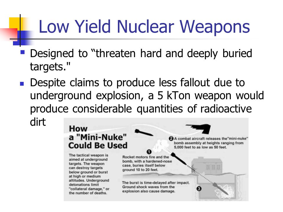 Low Yield Nuclear Weapons  Designed to threaten hard and deeply buried targets. Despite claims to produce less fallout due to underground explosion, a 5 kTon weapon would produce considerable quantities of radioactive dirt