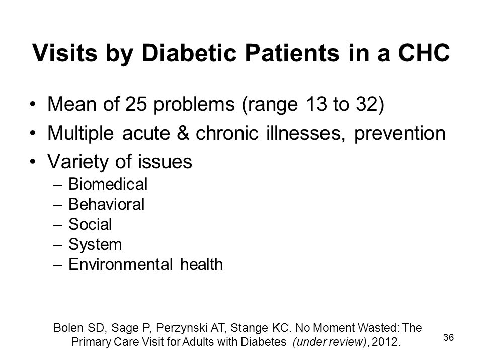 36 Visits by Diabetic Patients in a CHC Mean of 25 problems (range 13 to 32) Multiple acute & chronic illnesses, prevention Variety of issues –Biomedi