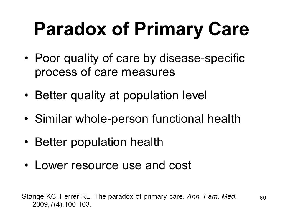 60 Paradox of Primary Care Poor quality of care by disease-specific process of care measures Better quality at population level Similar whole-person f