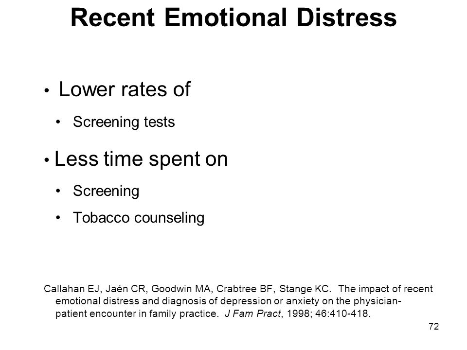 72 Recent Emotional Distress Lower rates of Screening tests Less time spent on Screening Tobacco counseling Callahan EJ, Jaén CR, Goodwin MA, Crabtree
