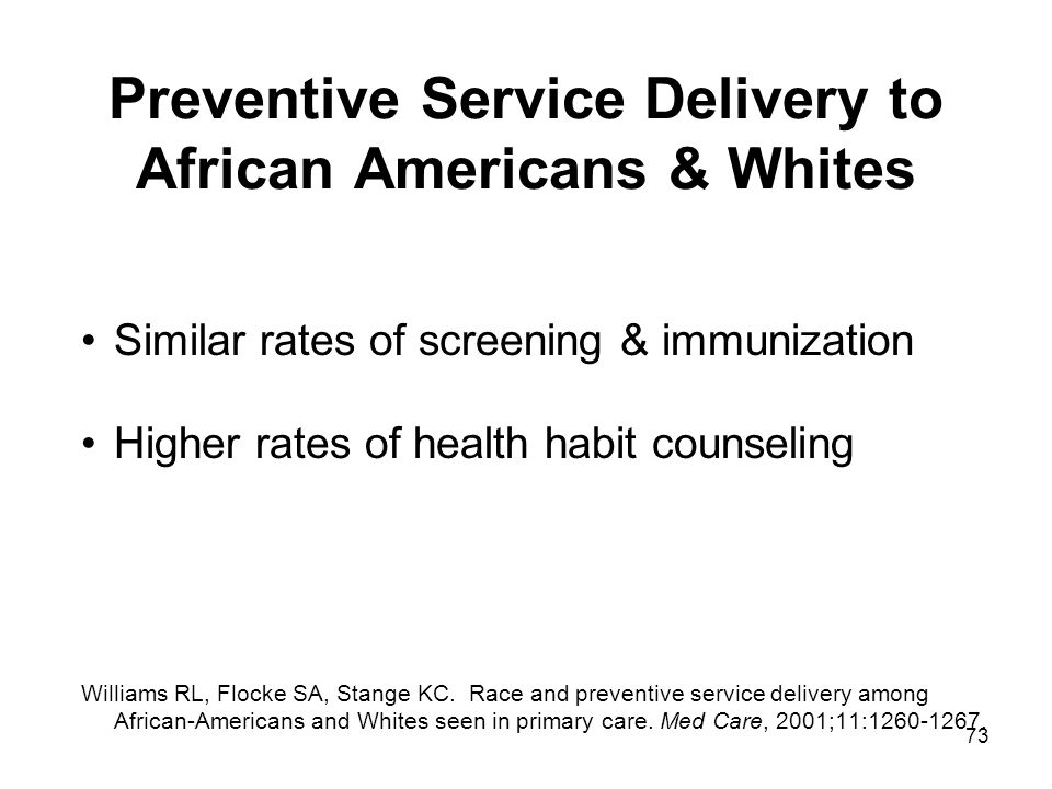 73 Preventive Service Delivery to African Americans & Whites Similar rates of screening & immunization Higher rates of health habit counseling William