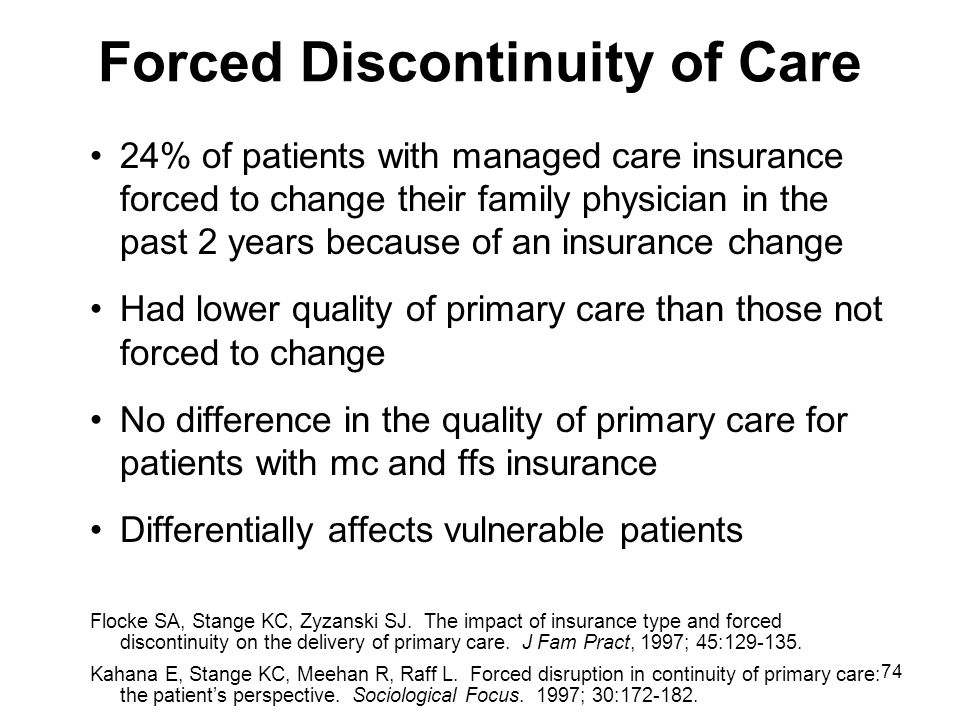 74 Forced Discontinuity of Care 24% of patients with managed care insurance forced to change their family physician in the past 2 years because of an