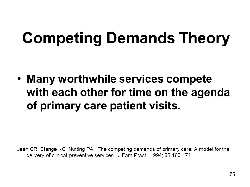 75 Competing Demands Theory Many worthwhile services compete with each other for time on the agenda of primary care patient visits. Jaén CR, Stange KC