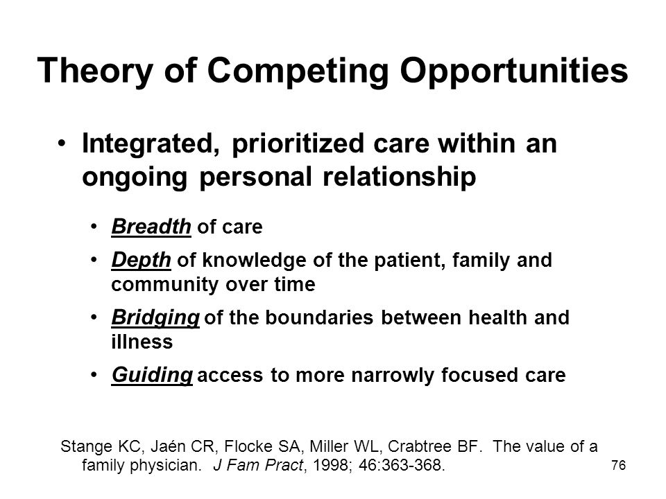 76 Theory of Competing Opportunities Integrated, prioritized care within an ongoing personal relationship Breadth of care Depth of knowledge of the pa