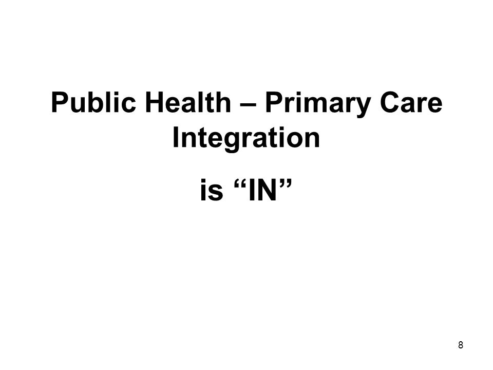 """8 Public Health – Primary Care Integration is """"IN"""""""