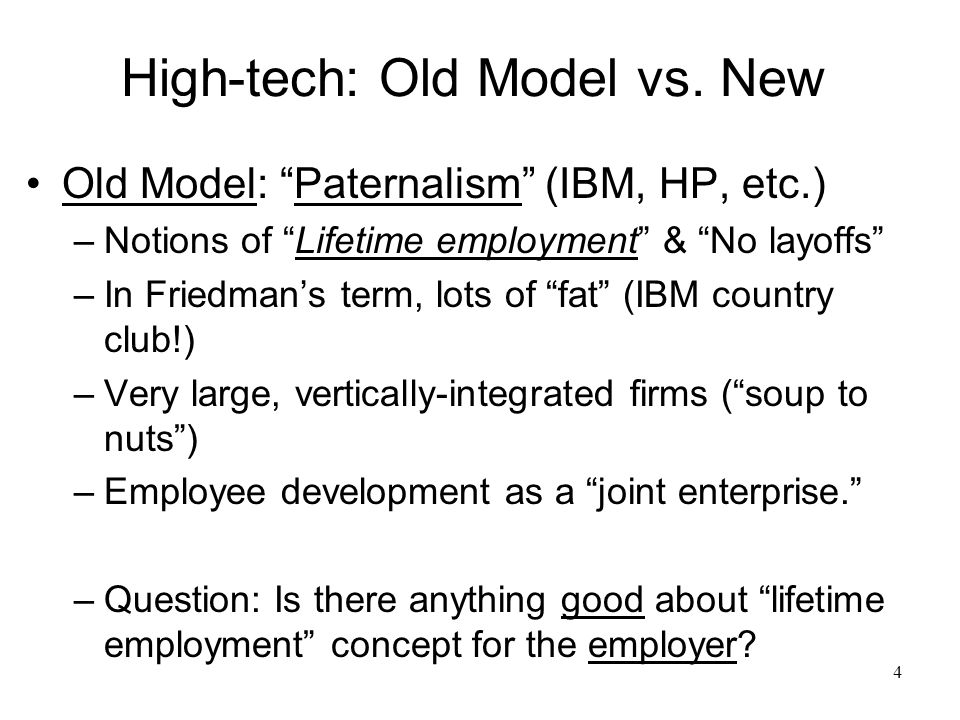 4 High-tech: Old Model vs.
