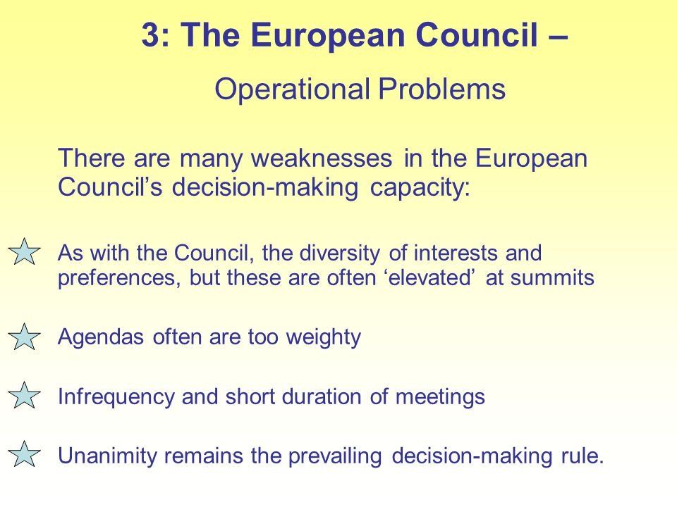 3: The European Council – Operational Problems There are many weaknesses in the European Council's decision-making capacity: As with the Council, the