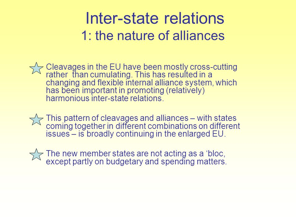 Inter-state relations 1: the nature of alliances Cleavages in the EU have been mostly cross-cutting rather than cumulating. This has resulted in a cha