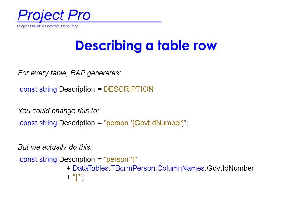 Describing a table row const string Description = DESCRIPTION const string Description =