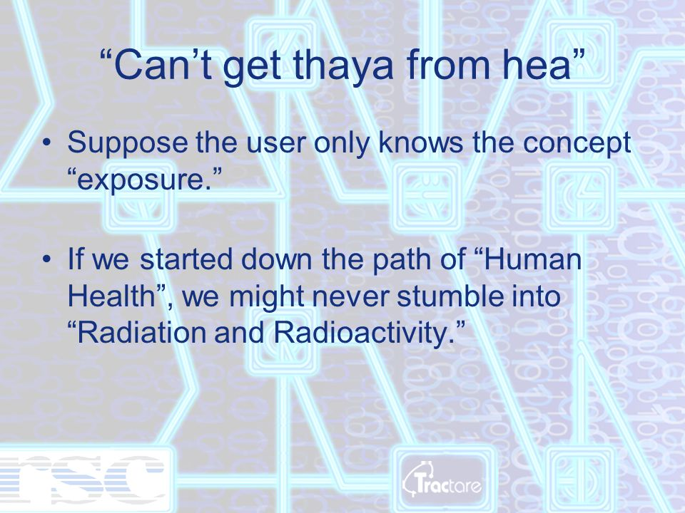 Can't get thaya from hea Suppose the user only knows the concept exposure. If we started down the path of Human Health , we might never stumble into Radiation and Radioactivity.