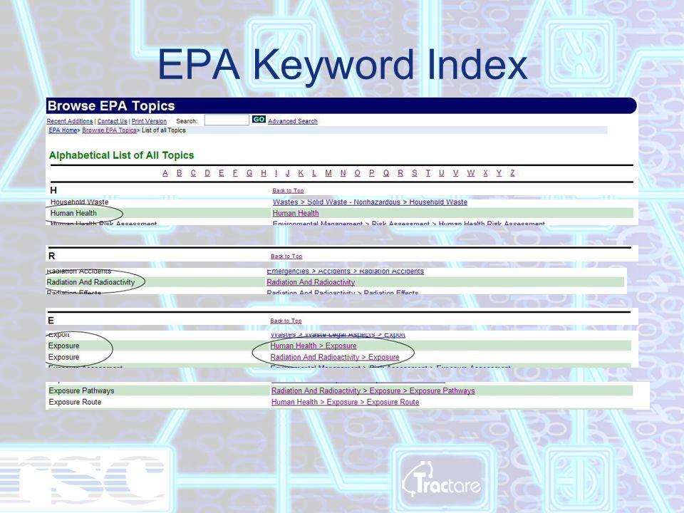 EPA Keyword Index