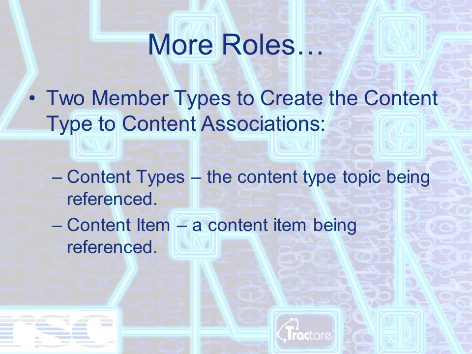 More Roles… Two Member Types to Create the Content Type to Content Associations: –Content Types – the content type topic being referenced.