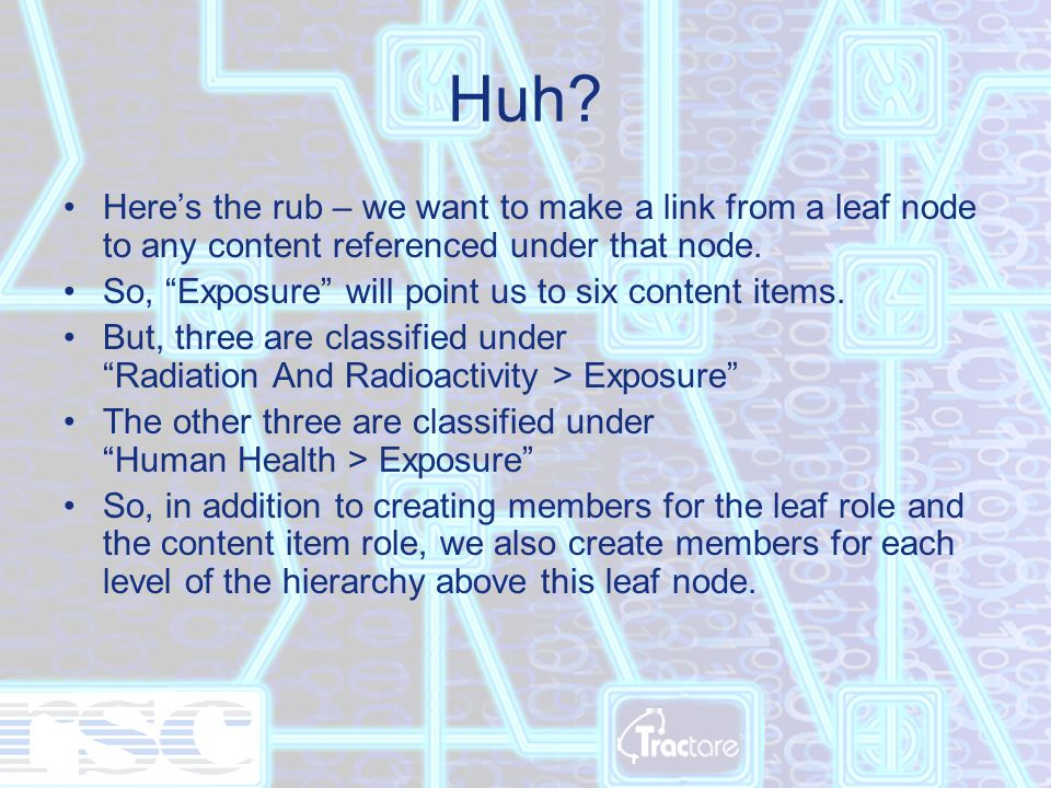 """Huh? Here's the rub – we want to make a link from a leaf node to any content referenced under that node. So, """"Exposure"""" will point us to six content i"""