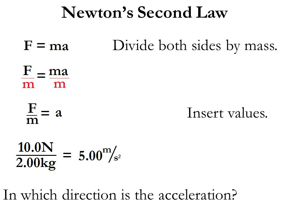 Newton's Second Law Divide both sides by mass. Insert values. In which direction is the acceleration?