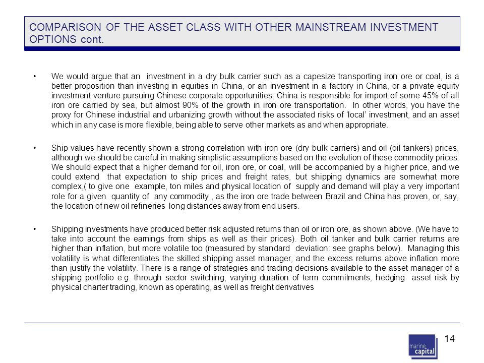 14 COMPARISON OF THE ASSET CLASS WITH OTHER MAINSTREAM INVESTMENT OPTIONS cont. We would argue that an investment in a dry bulk carrier such as a cape