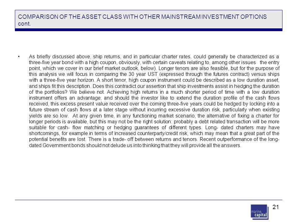 21 COMPARISON OF THE ASSET CLASS WITH OTHER MAINSTREAM INVESTMENT OPTIONS cont. As briefly discussed above, ship returns, and in particular charter ra